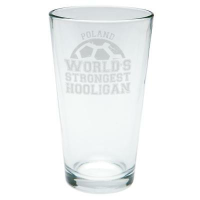 World Cup World's Strongest Hooligan Poland Etched Pint (Strongest Glasses)