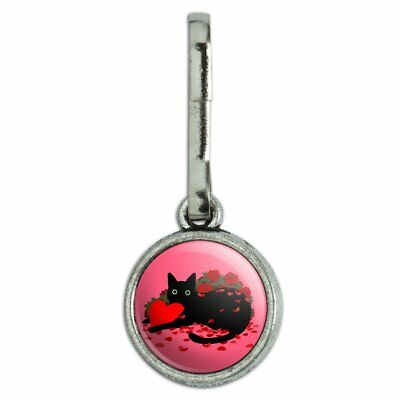 Rose Zipper Pull (Black Cat Valentines Heart Rose Petals Love Charm Zipper Pull)