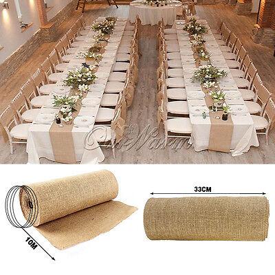 10M Roll Upholstery Fabric Natural Jute Hessian Burlap Cloth Craft Wedding Decor