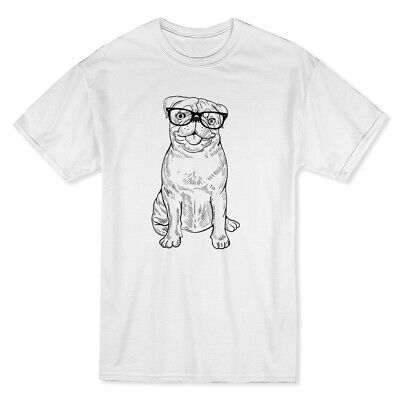 Happy Hipster Pug Medium Front Sketch Style Graphic Men's White T-shirt](Happy Pug)