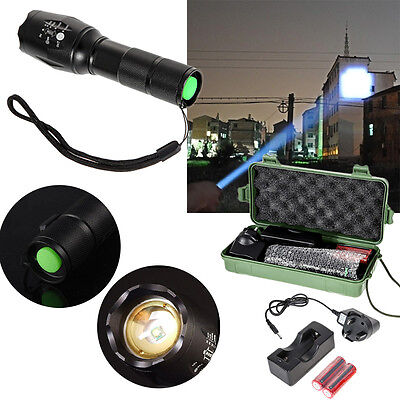 CREE T6 LED Zoomable 18650 AAA Flashlight Rechargeable Torch Light Lamp+Charger