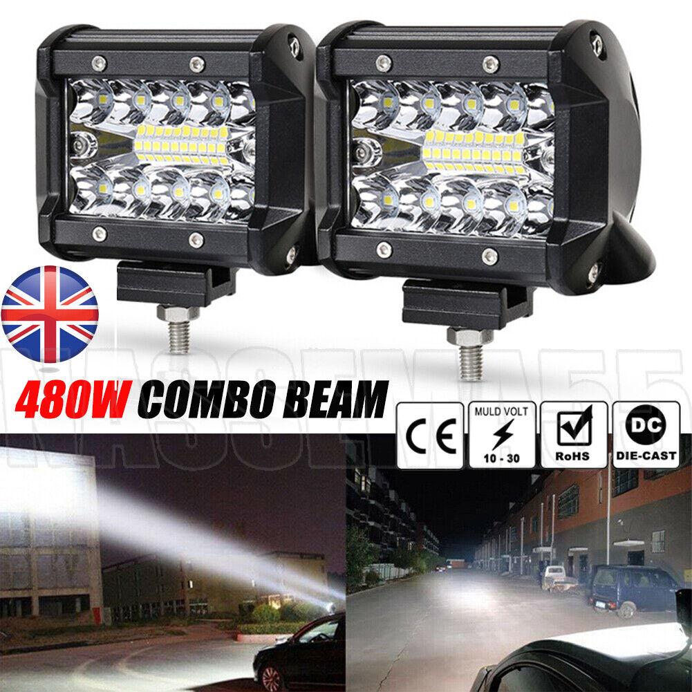 Car Parts - 480W LED Work Light Bar Flood Spot Lights Driving Lamp Offroad Car Truck SUV