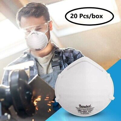 20pcs Dust Mask Disposable Respirator Masks Particulate Filtering Half Face N95