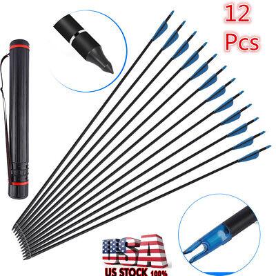 12Pcs Carbon Fiber Hunting Practice Archery Recurve Bow Arrows Arrowhead Points