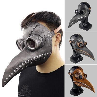 UK Plague Doctor Latex Mask Long Nose Beak Bird Crow Cosplay Steampunk Halloween