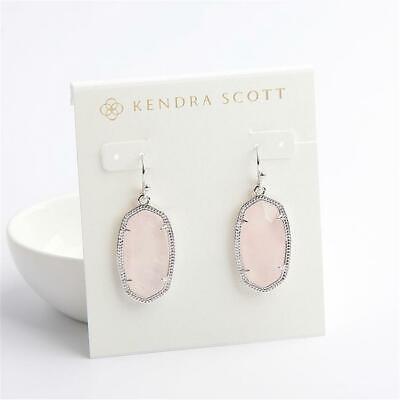 Kendra Scott Silver Dani Drop Earrings in Rose Quartz Pearl Rose Earrings
