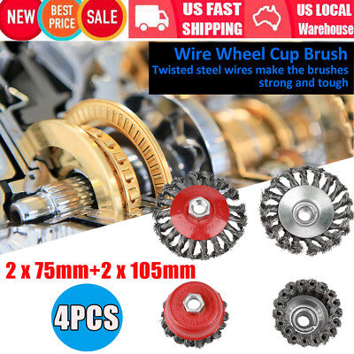 4pcs Rotary Twist Knot Flat Cup Wire Wheel Brush for Angle Grinder Rust Removal