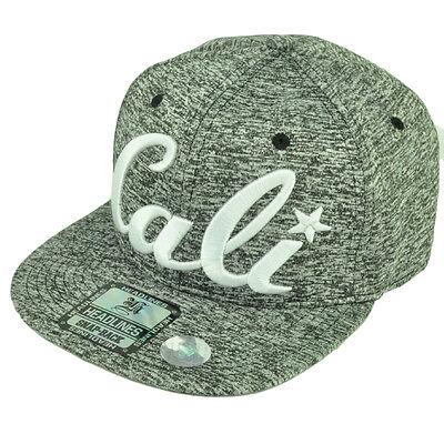 Cali California Republic 3D Logo Flat Bill Hat Cap Snapback Athletic Ash Pattern