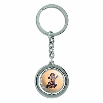 Gila Monster Pixel Lizard Spinning Round Chrome Plated Metal Keychain for sale  Shipping to Canada