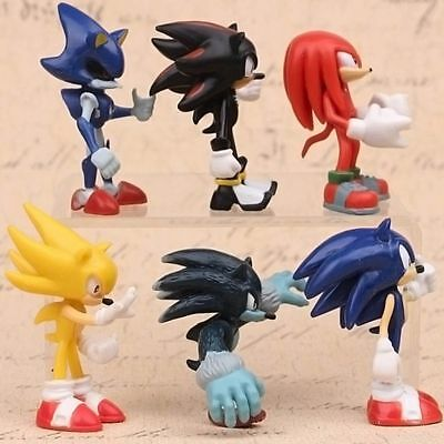 Sonic The Hedgehog Knuckles Shadow 6 PCS Action Figure Cake Topper Doll Toys NEW (Sonic Cake)