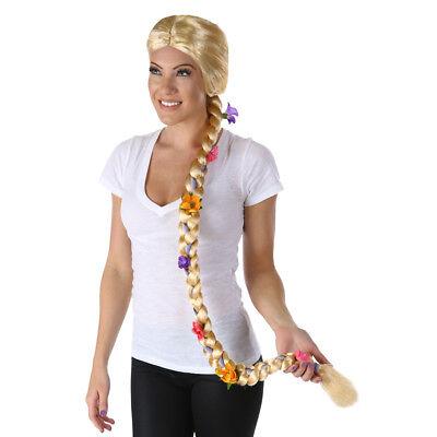 Lang Blond Geflochten Blume Perücke Rapunzel Damen Verwirrt Märchen Erwachsene ()