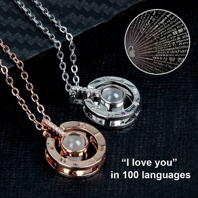 I Love You-100 Languages Light Projection Pendant Necklace Women Jewelry Gift - Light Necklace