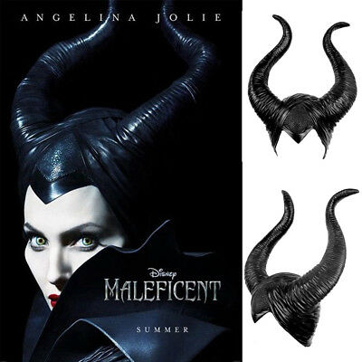Women Maleficent Costume Witch Black Horns Cosplay Mask Halloween Hat Prop 2019