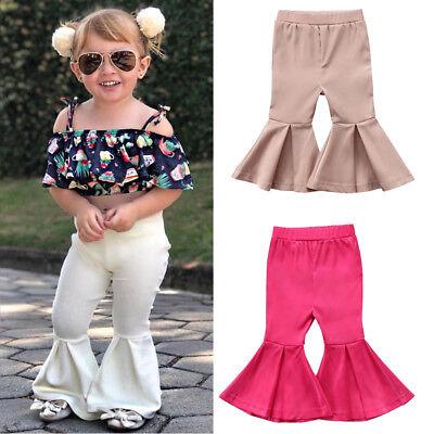 Toddler Bottom Pants - Toddler Baby Girls Bell Bottom Pants Stretchy Flared Wide Leg LeggingsTrousers