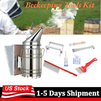 8pcsset Pro Beekeeping Tools Kit Bee Hive Smoker Scraper Beekeeper Equipment Us