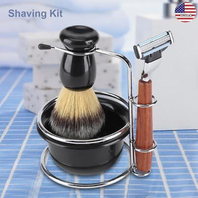 - Men Barber Shaving Brush Safety Razor Holder Rack Stand Mug Cup Bowl Set Kit US