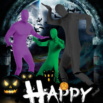 Halloween Unisex Party Costume Invisible Morph Suit Men Women Full Body Spandex