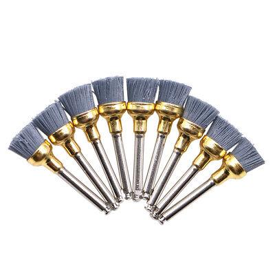 10pc Dental Silicone Carbide Nylon Flat Bowl Polishing Polisher Prophy Brushes