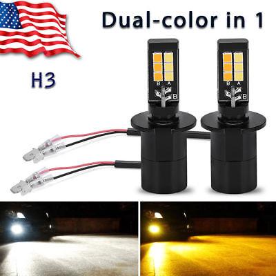 2x YITAMOTOR H3 160W LED Fog Light Bulbs White Amber Yellow Dual Color 2600LM