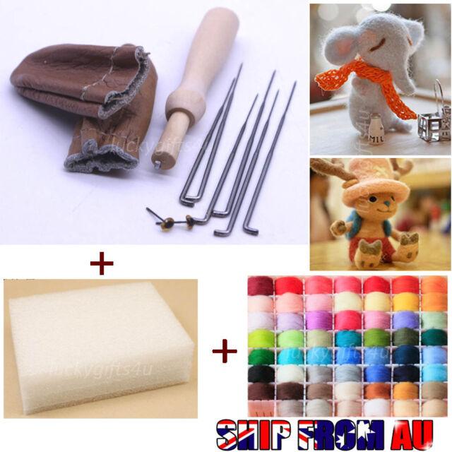20 Colour DIY Wool Needles Felt Tool Set + Needle Felting Mat Starter Kit Craft