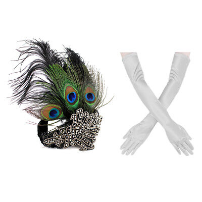 1920s' Gatsby Accessories Set Peacock Headband Sliver Glove  for Party Halloween - Black Peacock Halloween Costumes