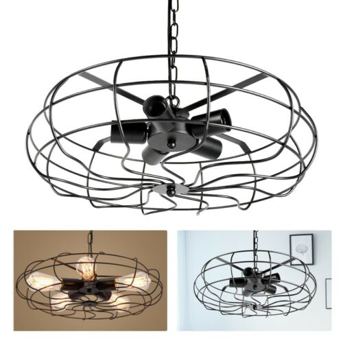5 Lights Industrial Vintage Flush Mount Ceiling Light Metal
