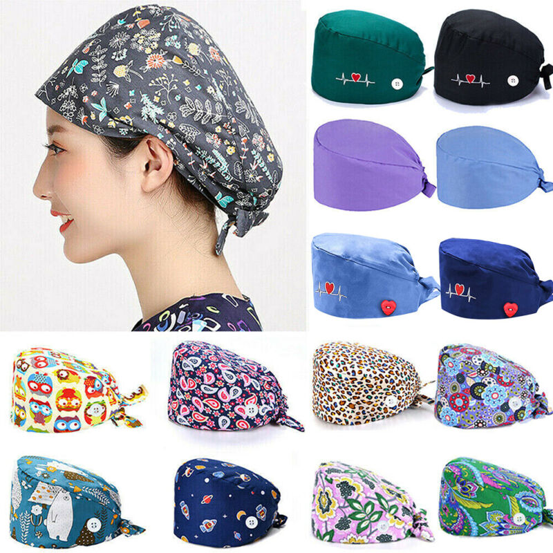 Unisex Surgical Cap Doctor Nurse Cotton Bouffant Caps Adjustable Head Cover Hat
