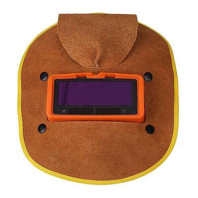 Leather Solar Power Auto Darkening Filter Lens Hood Welding Helmet Mask