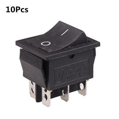 10pcs Dpdt 6-pin Rocker Switch Kcd7 2 Position Onon Ac 250v 15a 125v 20a