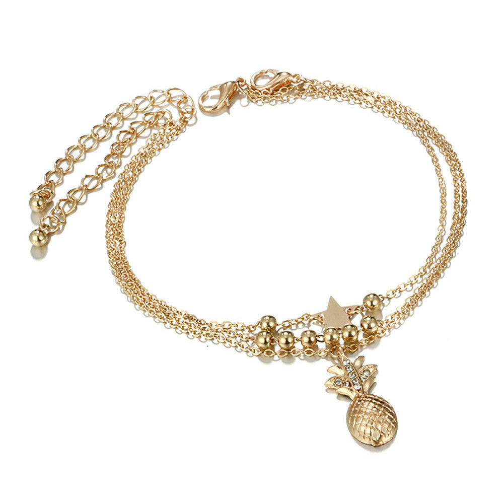 Women Charm Pineapple Star Heart Chain Anklet Ankle Bracelet Foot Lady Jewelry