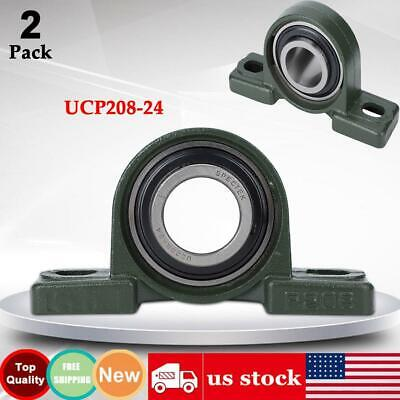 Lot Of 2 Ucp208-24 Pillow Block Mounted Ball Bearing 1-12 Bore Self Aligning