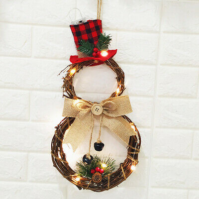 Christmas LED Wreath Hanging Xmas Party Door Wall Home Decor Garland Ornament CN ()