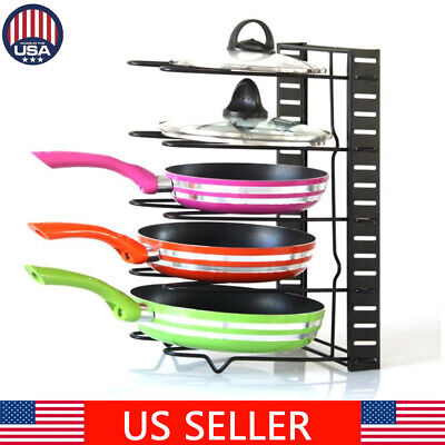 Pots And Pans Organizer - Kitchen Cabinet Pantry Pan Storage and Pot Lid Organizer Cookware Rack Holder