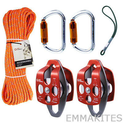 Tree Climbing Pulley System Kit Set With 18 Prusik Loop Arborist Tree Working
