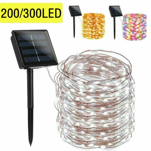 300/200 LED Solar Fairy String Light Copper Wire Outdoor Waterproof Garden Decor
