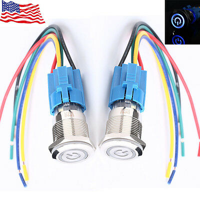 Lot2 19mm 12V Car Blue LED Metal Push Button Toggle Switch Socket Plug For Car