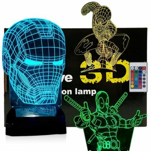 3D Night Lights - 3 in 1, 3 Pattern Design (Iron Man, Spider Man, Deadpool)