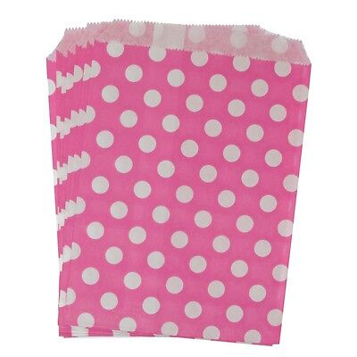 Hot Pink Polka Dot Paper Treat Bags