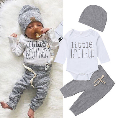 US Newborn Infant Baby Boy Little Brother's Romper Pants Trousers Outfit Clothes - Infant Boy Outfit