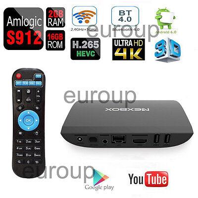 NEXBOX A1 2+16GB S912 Octa core Android6.0 Smart 4K TV BOX Wifi Full Loaded