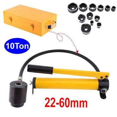 10 Ton 6 Dies Hydraulic Knockout Punch Driver Kit Hole Hand Tool Conduit 22-60mm