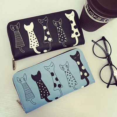 Cute Cat Women Leather Clutch Wallet Purse Long Card Holder Purse Handbag Bag SP
