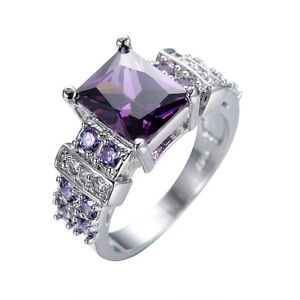 wedding rings size 6 12 purple amethyst womens mens 10kt white gold