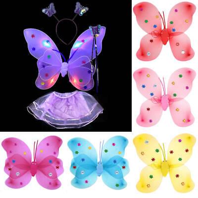Fairy Dress For Kids (Cute Kids Girls Fairy Butterfly Wings Wand LED Fancy Dress Dance Party)
