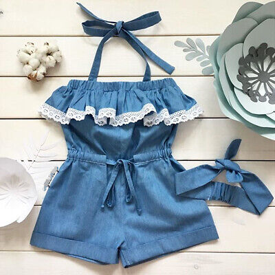 US Newborn Infant Kid Baby Girl Lace Romper Jumpsuit Outfit Bodysuit Clothes Set