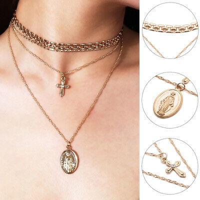 Women Multi-layer Goddess Cross Pendant Chain Choker Necklace Jewelry Striking