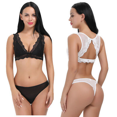b42c6de2ab6 Women Lace Bra Thong Set Extreme Padded Push Up Underwear Bra Set Lace  Bralette