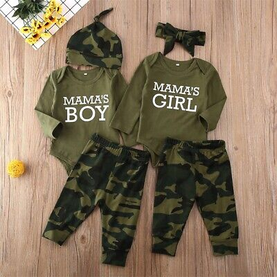 UK 3PCS Newborn Baby Boy Girls Romper Bodysuit Pants Camouflage Outfits Clothes