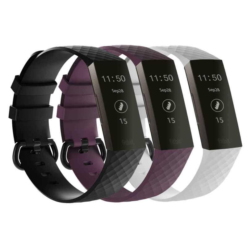 3 Pack Replacement  Band for Fitbit Charge 3 Large Bracelet Watch Rate Fitness