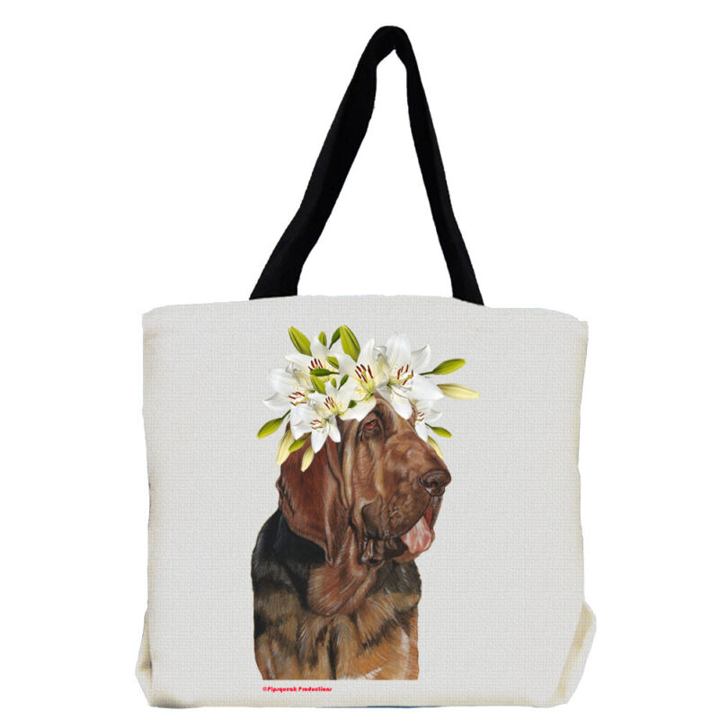 Bloodhound Dog with Flowers Tote Bag